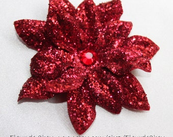 Glittered Red Poinsettia with Crystal Center on Alligator Hair Clip- Handmade Floral Hair Clip Christmas Holiday Accessory