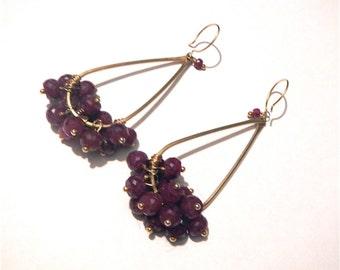 REDUCED Stunning Genuine Ruby Briolette Cluster Dangle Earrings MUST SEE