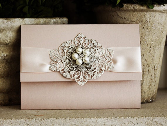 p ribbon invitation wedding boxed brooch silk pearl white card oyster elegant