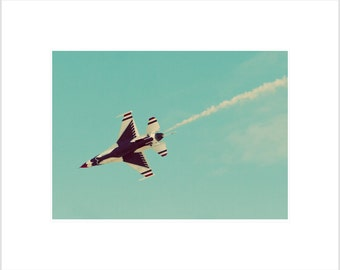 Airshow Photography- Jet Photograph- Thunderbird in Flight- 5 x 7 Matted Metallic Print