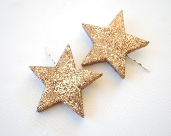two glitter stars bobby pins, girl hair clip, photo prop, new year, disco, birthday party, twinkle, sparkle, copper, weddings hair accessory