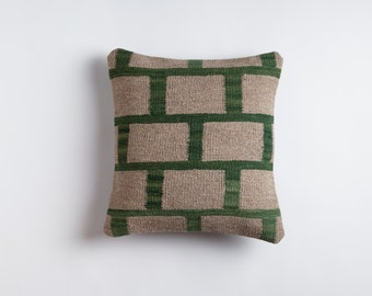 Gray Kilim Pillow - Handwoven Wool Brooklyn Designed Turkish Made