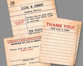 Library Card Wedding Package - Invitation, RSVP, & Thank You - Digital File