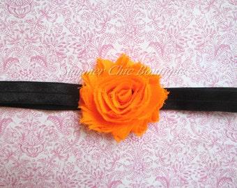 Orange and Black Halloween Headband, Baby Headband, Infant Headband, Newborn Headband, Girls Headband, Black and Orange Headband