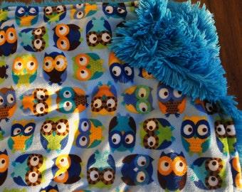 Blue Owls Minky Baby Blanket with Blue Shaggy Minky on Reverse Side