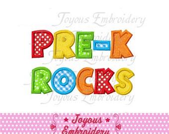 Instant Download Back To School/PRE-K Rocks Applique Embroidery Design NO:1549