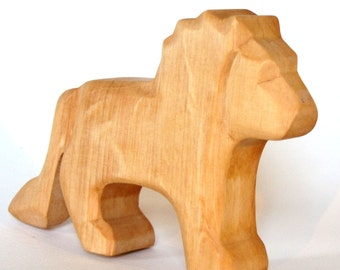 Lion, Wooden Animals, Natural Toys, Waldorf  Toy, Wooden Lion, Carved Lion, African Animals, Woodcarving