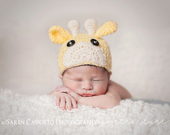 Newborn Giraffe Hat, Beanie, yellow and cream, photography prop, expectant mother gift, newborn baby