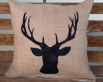 Burlap deer pillow, lodge decor, rustic decor, throw pillow, accent pillow
