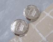 Silver Jubilee Cufflinks Crown British Royalty Stratton Vintage Jewelry H650