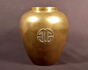 Asian Vase Vintage Brass Decorative Symbol India