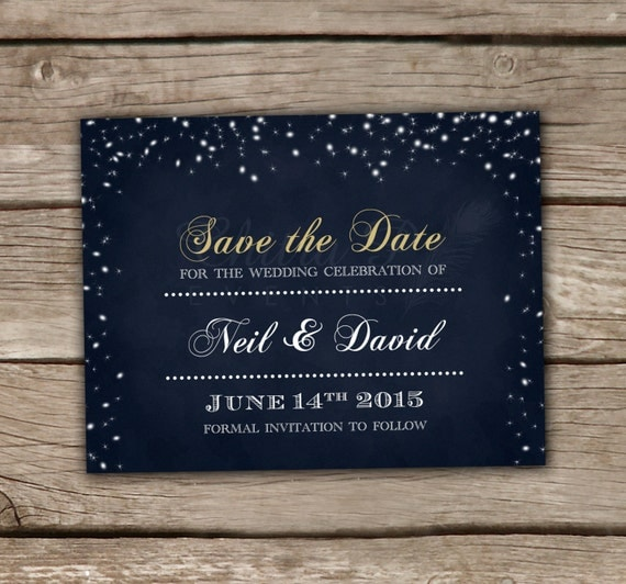 Starry night save the date template printed or digital by for Electronic save the date templates