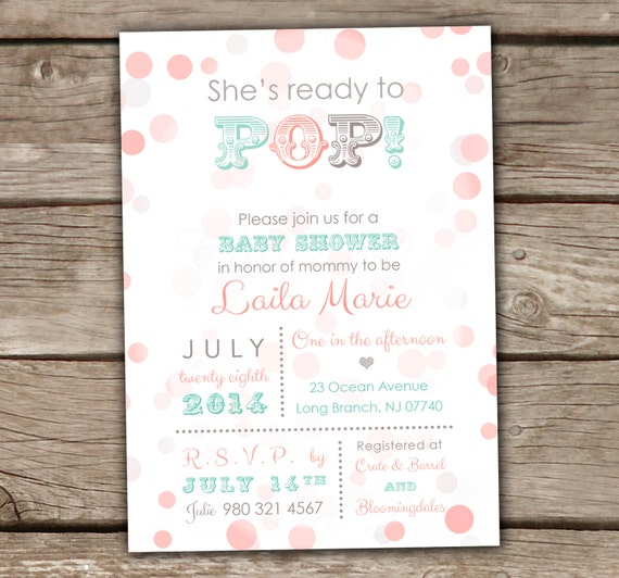 ready to pop baby shower invitations printed or printable coral