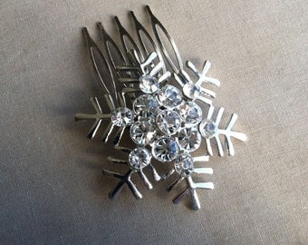 Snowflake hair accessories, winter wedding, modern, snowflake comb, chair comb, holiday, christmas, snowflake, winter, hair clip rhinestone