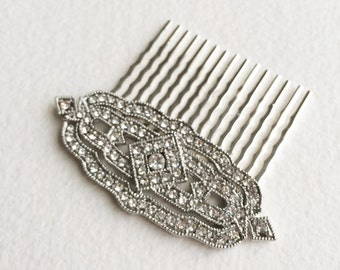 Art Deco hair Comb, 1920s, Great Gatsby comb, silver hair comb, wedding bridal hair comb hair accessories Downton Abbey DECO DIAMOND SILVER