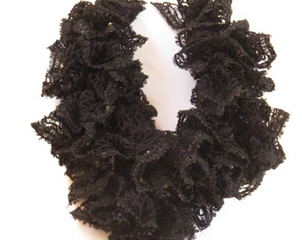 Blow out Sale! Crocheted Black ruffle scarf with sequins throughout