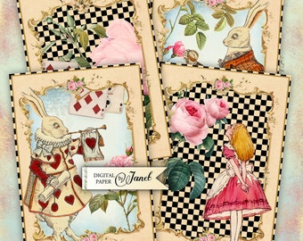 Alice Cards - digital collage sheet - set of 4 cards - printable JPG file