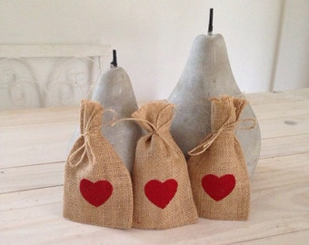 50 Red Hessian/ Burlap Wedding Favor Bags