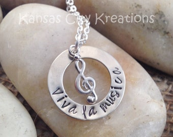 Viva La Musica Hand-Stamped Necklace with Treble Clef Charm