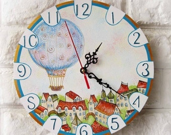 Blue Balloon Wall Clock Home Decor, white home decor, Dad Gift, Gift to our Father, Dad Appreciation Gift, Fathers Day Gift