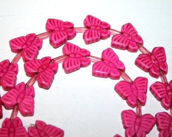 Full Strand of Pink Butterfly Gemstone Beads
