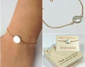 Coin pearl bracelet, gold fill pearl bracelet. Bridesmaids bracelet. Mother of the bride bracelet