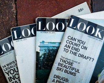 Vintage 1971 Look Magazine 4 Issues 1970s Periodicals with Advertisements