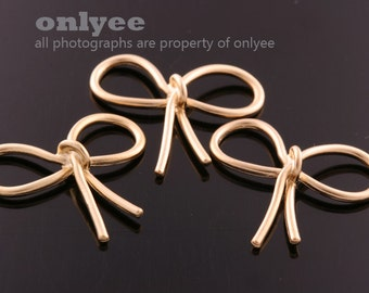 4pcs-24mmX22mmMatte Gold Plated over Brass Ribbon Bow Connectors,Charms,pendants(K663G)