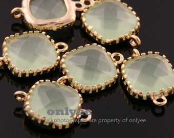6pcs-9mmX9mm14K Gold plated Brass Faceted Square Glass Connectors-Light Mint(M310G-D)