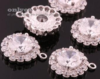 2pcs-11mmX13.50mmRhodium plated LUX Cubic zirconia Round Drop Pendants-Clear(M320S-A)