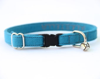 Cat Collar - Ocean Blue - Adjustable - Optional ID Tag