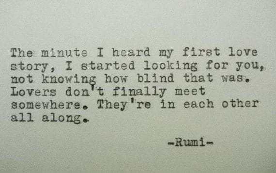 rumi love poem rumi quote handtyped quote with vintage