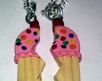 "Cupcake Best Friends Heart Pendant.  Besties on 15.5"" silver chain Polymer Clay"