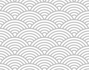 Removable Wallpaper - Scalloped Fish Scale Print - Gray