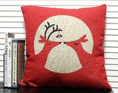 """Decorative pillow cover Linen Merry Christmas red Deer Sika deer animal printed  cushion case 18"""""""