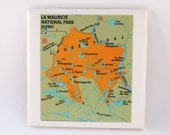 1985 La Mauricie National Park Quebec Canada Map Handmade Vintage Map Coaster - Ceramic Tile Coaster - Repurposed 1980s Nat Geo Atlas - OOAK