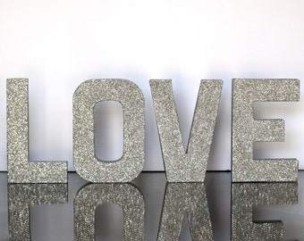 LOVE letters - Silver German Glass Glitter -  8 inches Tall