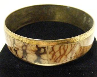 Vintage Philippine Handmade Shell Brass Bangle Bracelet.