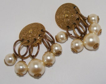 Vintage SIGNED Les Bernard Brass-tone and Faux Pearl Clip Earrings