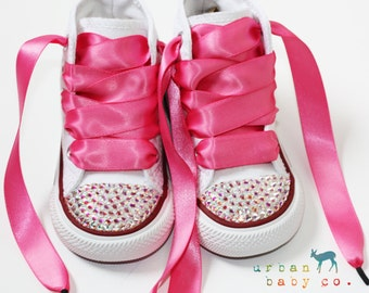 Infant, Toddler Baby Girl High Top White Converse® All Star® Chuck Taylor's® With Pink Ribbon Laces & Swarovski® Crystal Rhinestones
