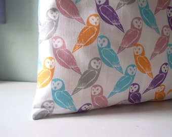 Woodland Owl Pillow cover Upcycled Teatowel