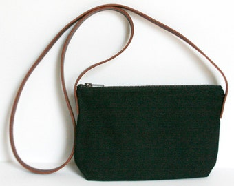 Black Crossbody Waxed Canvas Bag