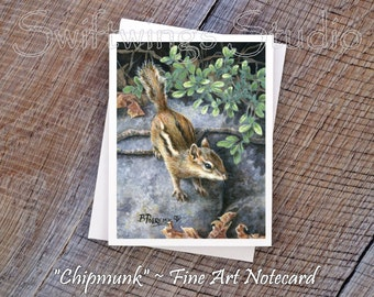 Wildlife Note Cards - Chipmunk Note Cards - Animal Note Cards - Wildlife Stationary - Wildlife Art - Wildlife Stationary