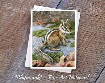 Wildlife Note Cards - Chipmunk Note Cards - Chipmunk Painting - Wildlife Stationary - Animal Note Cards - Wildlife Art - Wild Animal Cards