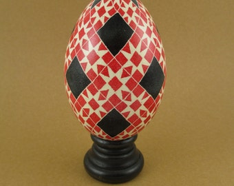 Pysanky Pisanki Ukrainian Polish Easter Egg Red Rose Star Hand Decorated Goose Egg