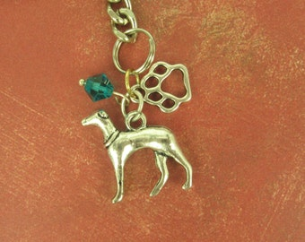 l00%  Animal Rescue DONATION - Beautiful Silver Plated Greyhound Dog on Keychain -With Blue Crystal and Paw Print Charm