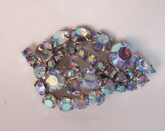 Vintage AB rhinestone brooch pin blue aqua prong set silver tone Astronaut Wives Mad Men