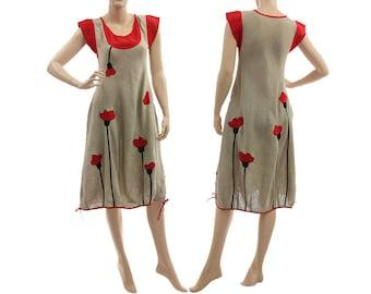 Artsy boho linen dress, summer linen dress, dark nature red linen dress with poppy flowers / lagenlook for small size women S, US size 4-6/8