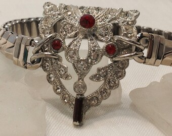 Silver Art Deco Dress Clip Red & Clear Rhinestones Crystals Upcycled Bracelet rEpURPOSeD Ornate Vintage Costume Watchband  WishAnWearJewelry