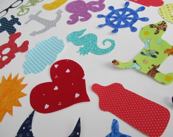 Set of 30 Iron on Appliques for Baby Shower Craft Station or DIY Baby Gifts